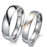 TITANIUM RING Cincin Couple Size 6(F) & 9(M) [GS283] - Gold & Black - Cincin